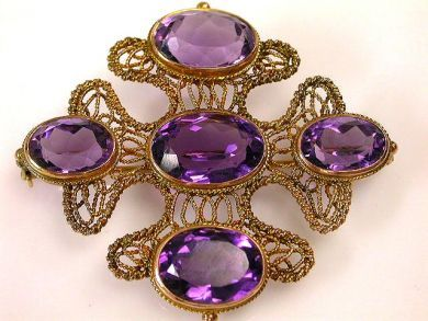66711-January/Amethyst Filigree Brooch Cynthia Findlay Antiques CFA1112276