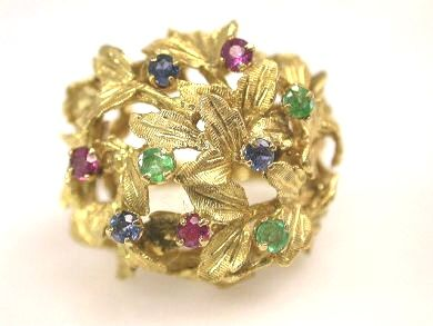 Vintage Sapphire Emerald Ruby Floral Cluster Ring