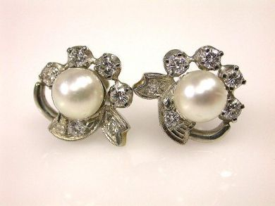 Vintage Pearl and Diamond Stud Earrings