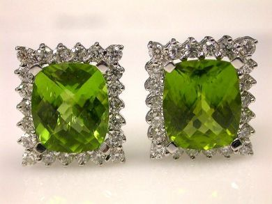 Vintage Peridot and Diamond Earrings