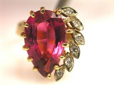 Vintage Tourmaline and Diamond Ring