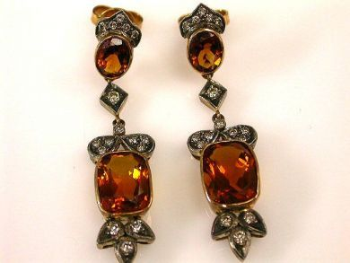 66849-January/Citrine Drop Earrings Cynthia Findlay Antiques CFA120154