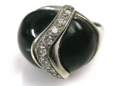 66849-January/Onyx and Diamond Ring Cynthia Findlay Antiques CFA1112175
