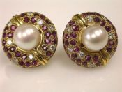 Royal De Versailles Pearl and Ruby Earrings