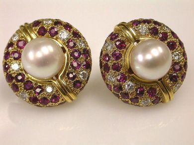 66849-January/Pearl and Ruby Earrings Cynthia Findlay Antiques CFA120126