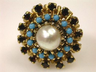 66891-February/Pearl Cluster Ring Cynthia Findlay Antiques CFA1201141