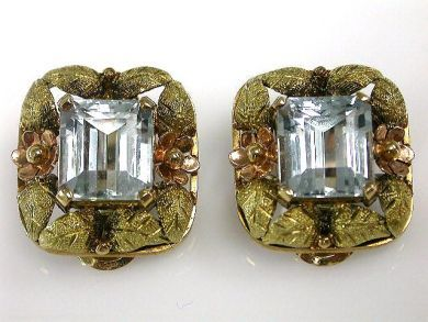 66984-April/Aquamarine Floral Earrings Cynthia Findlay Antiques CFA120451