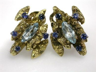 66984-April/Aquamarine Nugget Earrings Cynthia Findlay Antiques CFA1203128