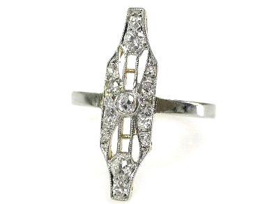 Edwardian Diamond Navette Ring