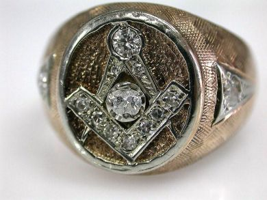 66984-April/Masonic Diamond Ring Cynthia Findlay Antiques CFA1203172