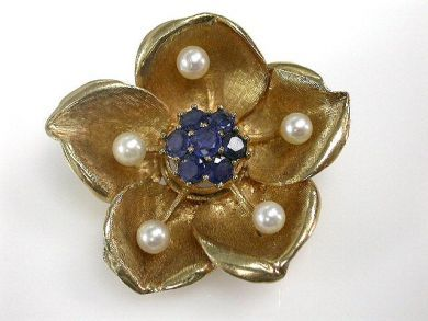 66984-April/Sapphire Floral Brooch Cynthia Findlay Antiques CFA1203116