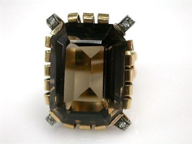 66984-April/Smokey Quartz Ring Cynthia Findlay Antiques CFA1203136
