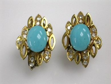 Vintage Turquoise and Diamond Earrings