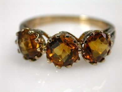 67061-March/Citrine Three Stone Ring Cynthia Findlay Antiques CFA1202289