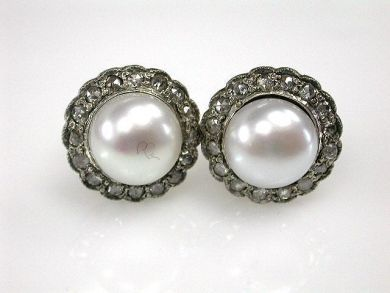 Vintage Inspired Pearl and Diamond Stud Earrings