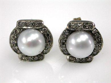 Vintage inspired Pearl and Diamond Stud Earrings