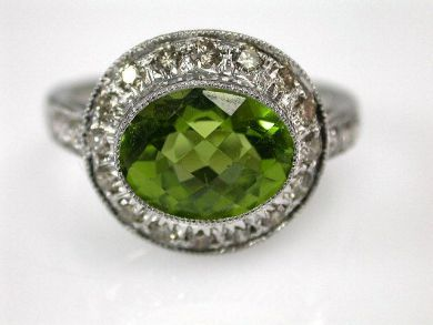 67061-March/Peridot Halo Ring Cynthia Findlay Antiques CFA1202287