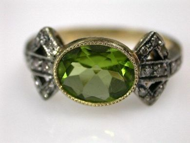 67061-March/Peridot and Diamond Ring Cynthia Findlay Antiques CFA1202286