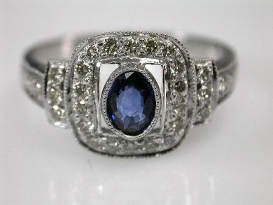 67061-March/Square Sapphire Ring Cynthia Findlay Antiques CFA1202292