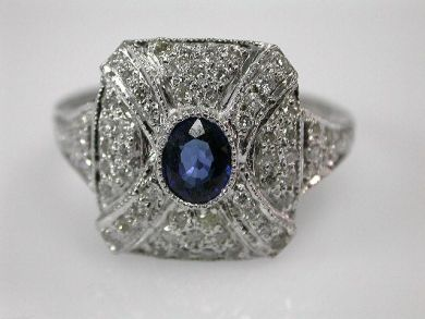 67061-March/Square Sapphire Ring Cynthia Findlay Antiques CFA1202297