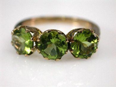 67061-March/Thre Stone Peridot Ring Cynthia Findlay Antiques CFA1202285