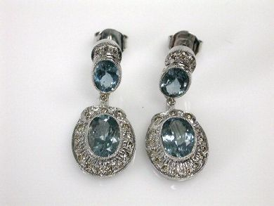 Vintage Inspired Aquamarine and Diamond Drop Earrings