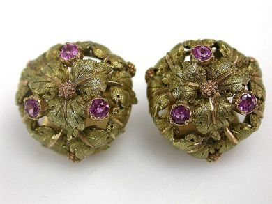 67062-March/Ruby Leaf Earrings Cynthia Findlay Antiques CFA1203122