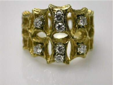 67062-March/Textured Gold Ring Cynthia Findlay Antiques CFA1202171