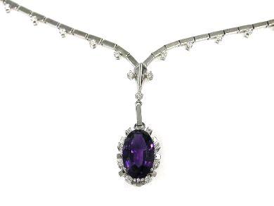 Vintage Amethyst and Diamond Pendant Necklace