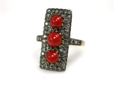 67398-October/Coral Ring Cynthia Findlay Antiques CFA120638C