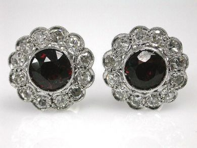 67398-October/Garnet Floral Earrings Cynthia Findlay Antiques CFA1204185