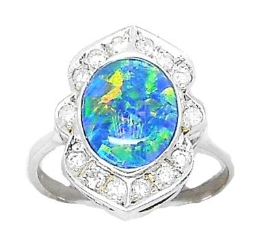 Vintage Style Opal Doublet and Diamond Ring