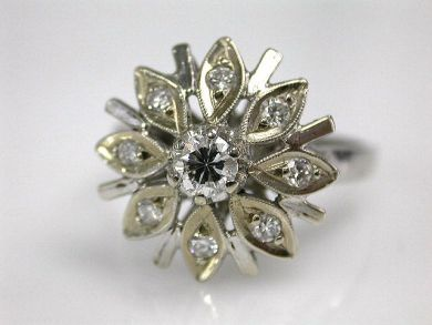 67398-October/Vintage Diamond Floral Ring Cynthia Findlay Antiques CFA1204215 67486