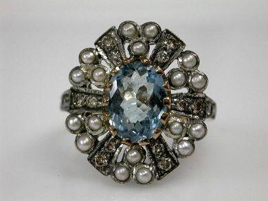 67425-April /Aquamarine Ring Cynthia Findlay Antiques CFA1205109