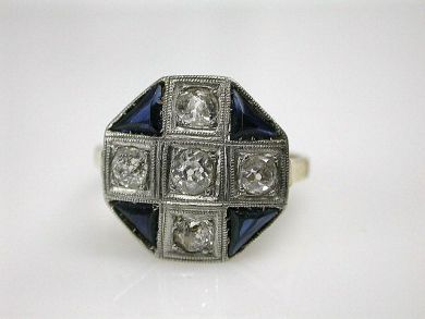 67425-April /Art Deco Sapphire Ring Cynthia Findlay Antiques CFA1205106
