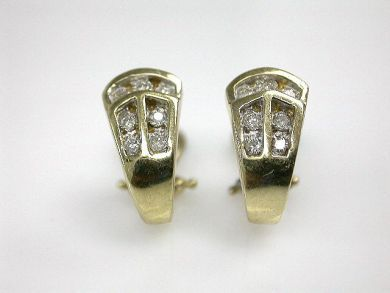 Vintage Diamond Huggie Earrings
