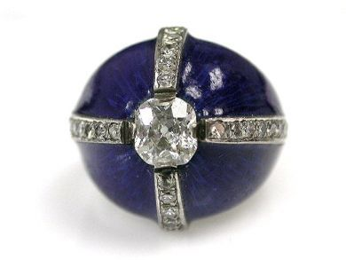 67425-April /Diamond Enamel Ring Cynthia Findlay Antiques CFA120445