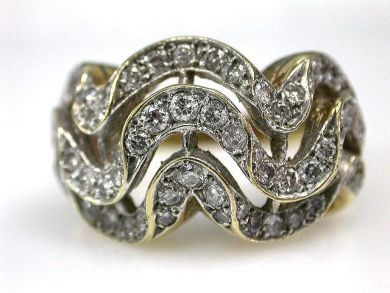 67425-April /Diamond Wave Ring Cynthia Findlay Antiques CFA1205196