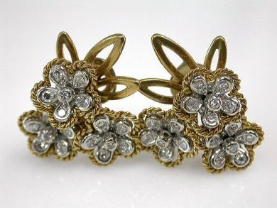67425-April /Floral Diamond Earrings Cynthia Findlay Antiques CFA1205131