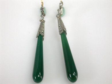 67425-April /Green Onyx Earrings Cynthia Findlay Antiques CFA1205130