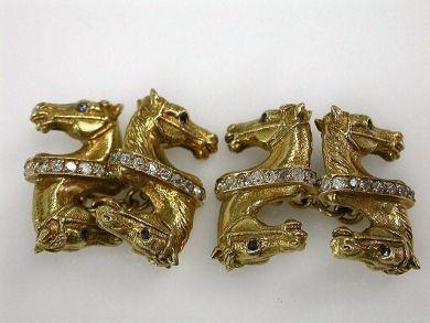 Vintage Sapphire and Diamond Horse Head Cufflinks