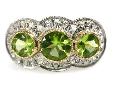 Vintage Inspired Peridot and Diamond Ring