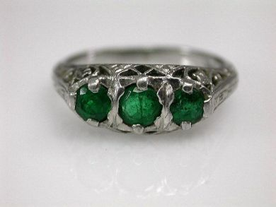 Vintage 3 Emerald Ring