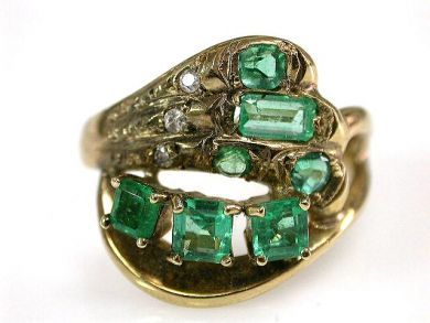 67528-Emeralds/Emerald Cluster Ring Cynthia Findlay Antiques CFA120512