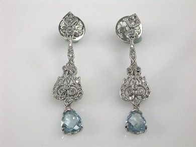 Vintage Style Aquamarine and Diamond Drop Earrings