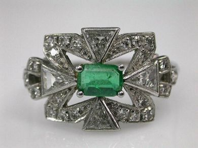67700-June/Art Deco Emerald Ring Cynthia Findlay Antiques CFA1205356