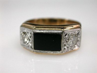 67700-June/Onyx and Diamond Ring Cynthia Findlay Antiques CFA1206101