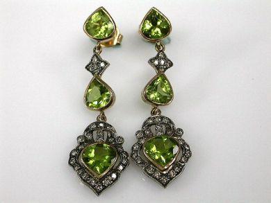 Vintage Peridot and Diamond Drop Earrings