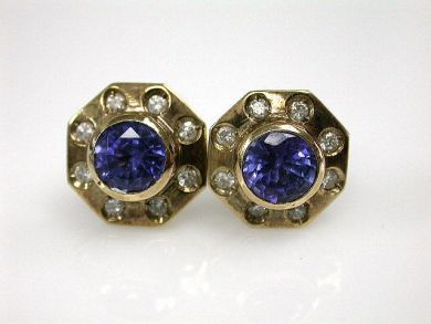 Vintage Tanzanite and Diamond Earrings