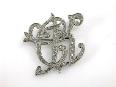 Diamond CK Brooch